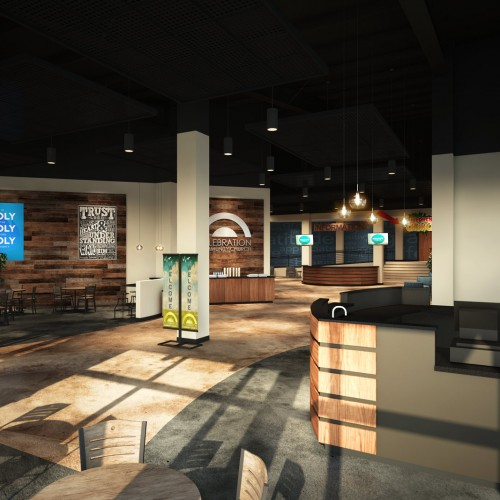 lobby wood walls