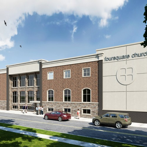 brick and stucco church